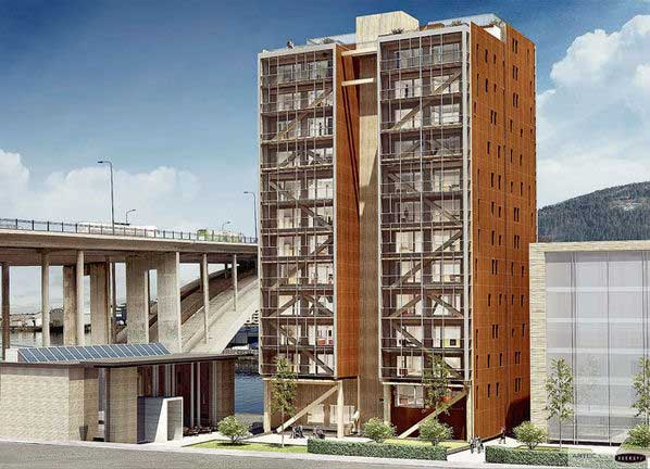 Nuovo record per il legno grattacielo di 18 piani in for Piani di coperta in legno