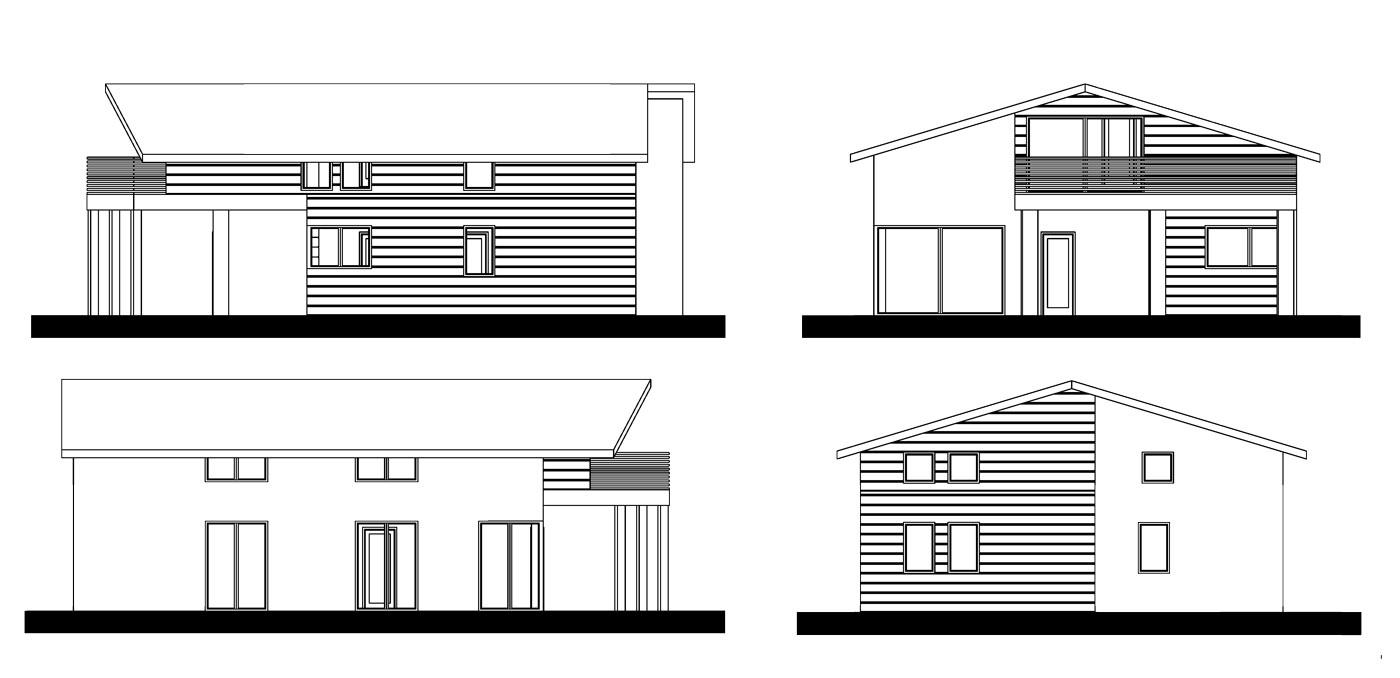 Progetto case standard - case in legno - prospetti - Icaro