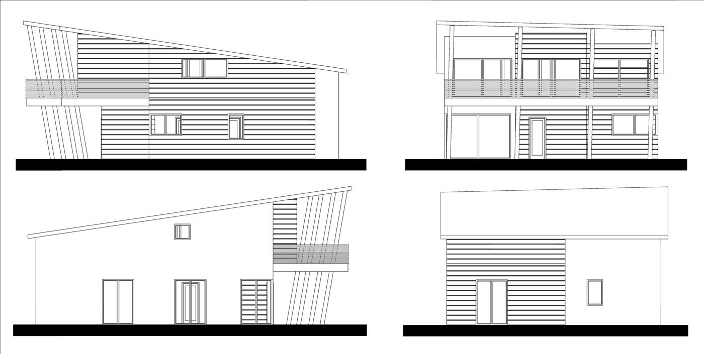 Progetto casa standard - case in legno - prospetti - Icaro