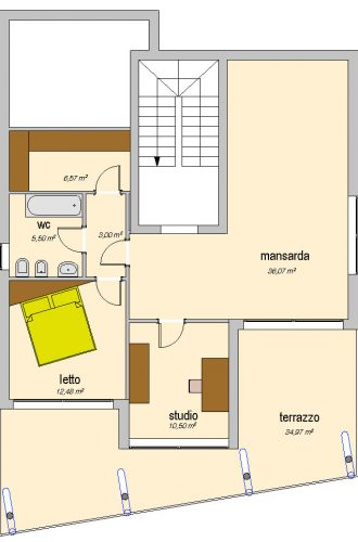 Progetto case standard - case in legno - pianta - Icaro
