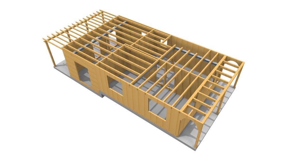 Casa in legno verona 3d
